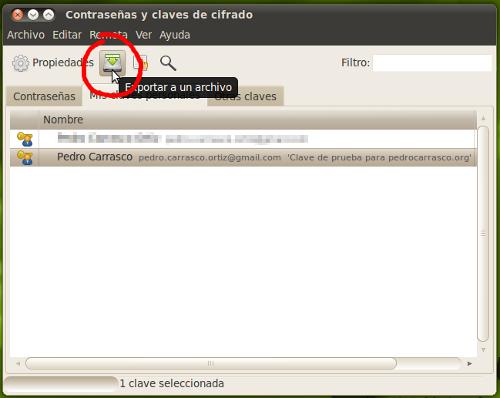 Paso 1: Seleccionar la clave GPG de la que quieres exportar la clave pública y hacer clic en el icono de «Exportar a un archivo»