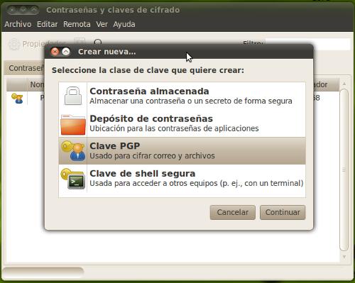 Paso 2: Aparecerá una ventana con los tipos de claves que seahorse nos permite crear. Seleccionamos Clave PGP
